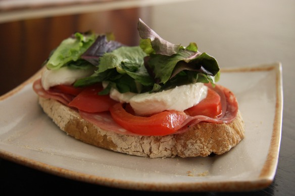 Mortadella and burrata sandwich
