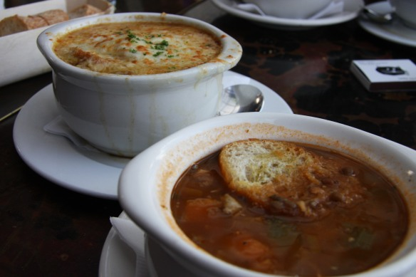 French onion soup and chicken lentil soup