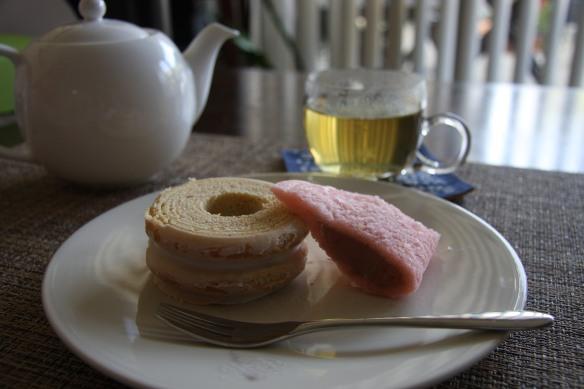 Baumkuchen and sakura mochi