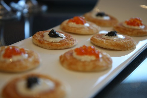 Caviar and salmon roe blinis