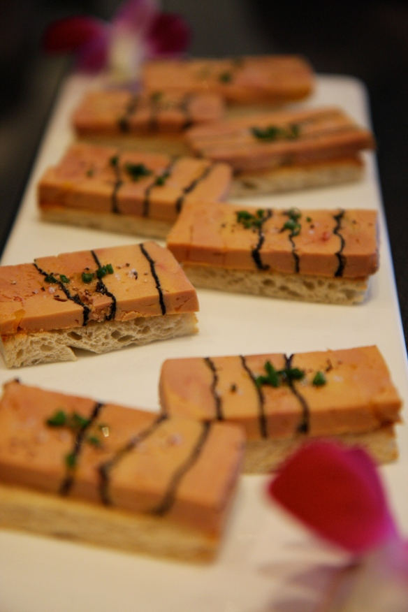 Foie gras and black truffle canapés