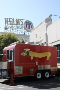 Let's Be Frank food truck at the Helm's Bakery