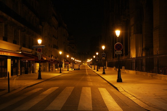 Deserted streets of Paris at 3am