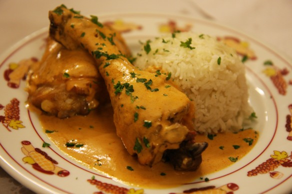 ... chicken braised in a vinegar, wine and tomato sauce that was really